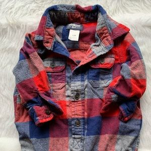 Oshkosh one piece plaid shirt!